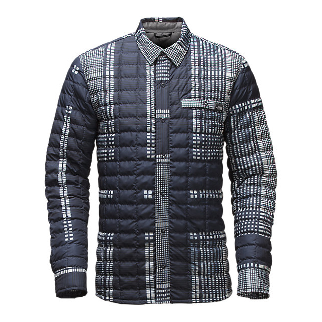 CHEAP NORTH FACE MEN'S REYES THERMOBALL SHIRT JACKET URBAN NAVY UPSCALE PLAID PRINT ONLINE
