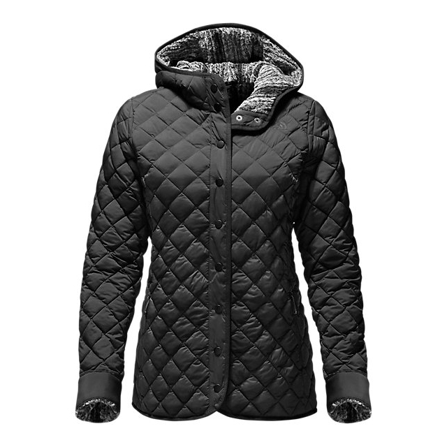 CHEAP NORTH FACE WOMEN'S THERMOBALL  FUR HOODIE BLACK / BLACK HEATHER ONLINE
